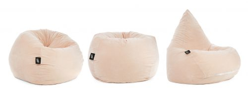 Soft and squishy pale pink blush velour tear drop shaped adult bean bag