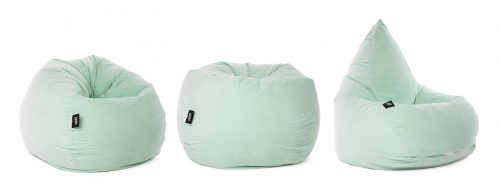 The soft and fluffy mint green velour adult size classic tear drop shaped bean bag.