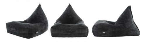 Three black velour bean bags. Luna shape. From the front, side and oblique angle.