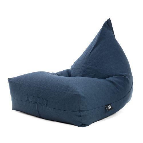 A blue linen luna shaped bean bag.