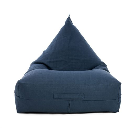 A blue linen bean bag in the luna shape - like a traditional teardrop with a wider comfortable base.