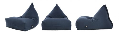 Three navy blue linen bean bags in the luna shape shown from the front, side and oblique angle.
