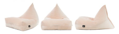 Three luna shaped bean bags in a pale pink blush velour material, shown frmo the front, side and oblique angle.