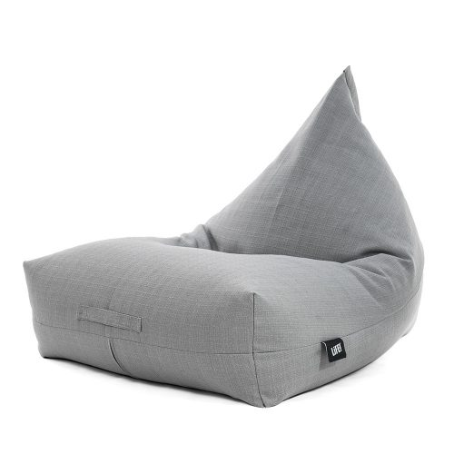 A grey linen, luna shaped bean bag - a variant of the traditional tear drop shape with a wider, squarer base