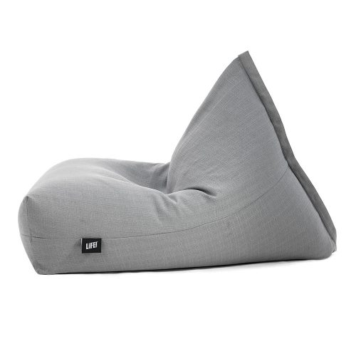 A grey linen bean bag shown from the side with the LiFE! tag showing