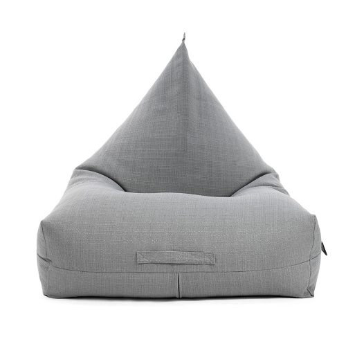 Grey linen luna shaped bean bag showing the carry handle on the front