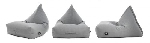 Three luna shaped bean bags in grey linen material. Shown from the front, side and oblique angle highlighting the wide, comfortable base.