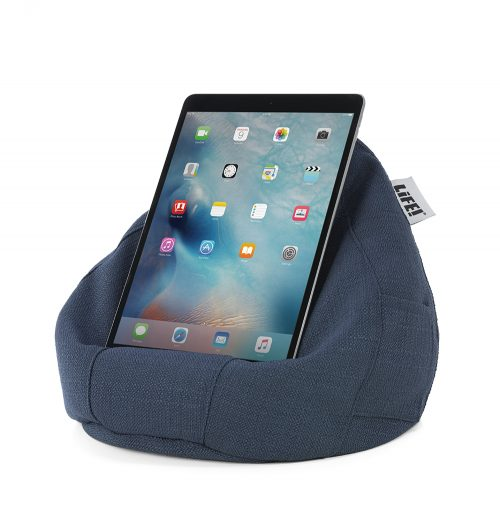 Textured linen look navy blue iCrib bean caddy holding a tablet, mobile phone or iPad for use without hands