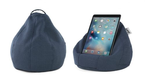 A textured blue linen look material iCrib bean bag showing the cushion shape, handle and holding a iPad, iPhone, mobile phone, smart phone, portable device or tablet.