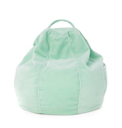 Mint green fuzzy iCrib tablet bean bag showing cushion shape and handle