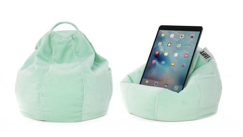 Mint green velour iCrib showing the bean filled bean bag cushion's shape and how it holds a mobile device, iPad, table or smart phone so you can use it hands free.