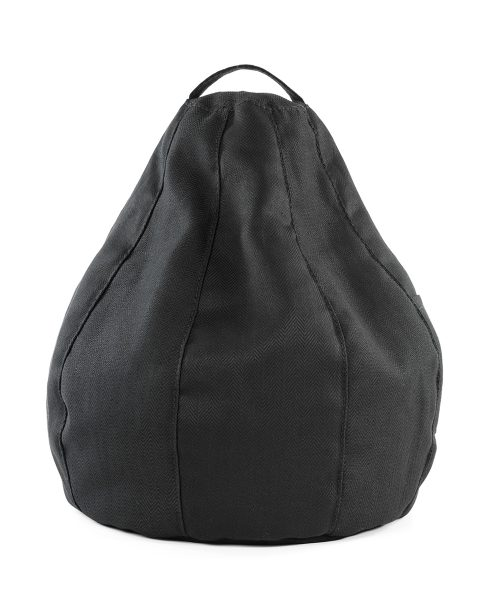 The black herringbone iCrib bean bag caddy showing the shape and handle on this bean cushion
