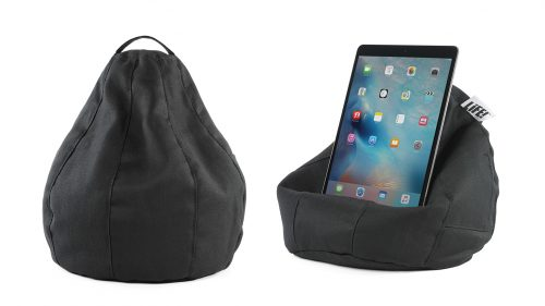 The black herringbone pattern iCrib bean bag showing the cushion shape and an iPad or tablet sitting on the bean caddy