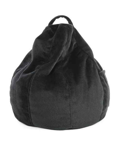 Black velour iCrib table bean bag for iPads and mobile devices.