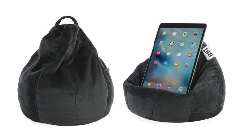 Black velour iCrib tablet bean bags showing the cushion shape and an iPad resting on the bean caddy.
