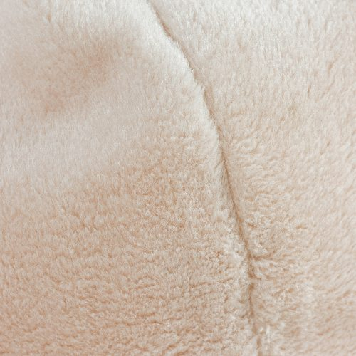 close up of the pale pink blush faux fur used on the iCrib bean bag for iPads or tablets