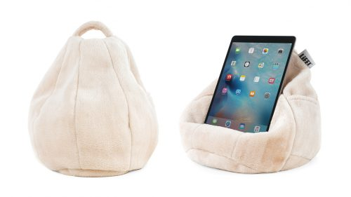 Pale pink blush faux fur iCrib bean bag showing shape, carry handle and an iPad or table sitting in the bean caddy