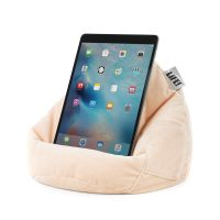 iPad sitting on the pale pink blush velour iCrib tablet bean bag cushion. Handy side pocket for your phone.