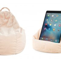 Pale pink blush colored velour iCrib tablet bean bag with hanging loop and handy storage for you phone. Go hands free with your iPad resting on the bean cushion.