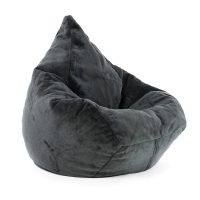 Large super size adult grey faux fur bean bag with a classic tear drop shape.