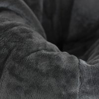 Close up of the fluffy fuzzy grey faux fur in the adult super size teardrop shaped bean bag.