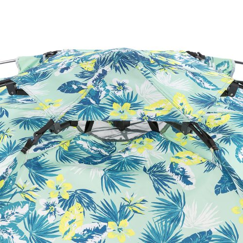 Close up of the air vent canopy on the green tropical leaf print auto ezee pop up beach shelter