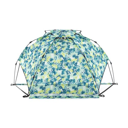 The tropical green leaf print adventure auto ezee sun shelter from behind