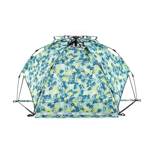 The green tropical print adventure sun shelter from the back.