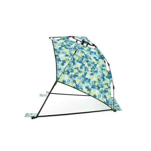 The green tropical print auto ezee adventure sun shelter from the side. Easy setup and packup.
