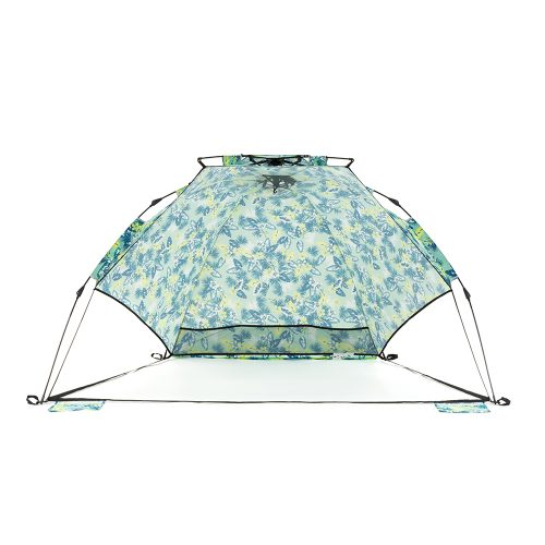 The tropical print adventure sun shelter for the beach and picnics with handy mesh storage pockets and central hanging hook. Easy setup and packup