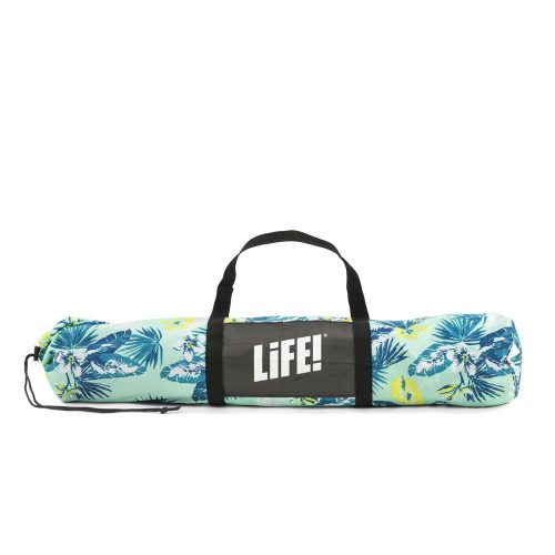 The tropical leaf print auto ezee sun shelter in its convenient carry bag