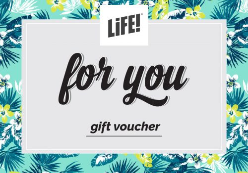 LiFE! gift voucher with for you in cursive font