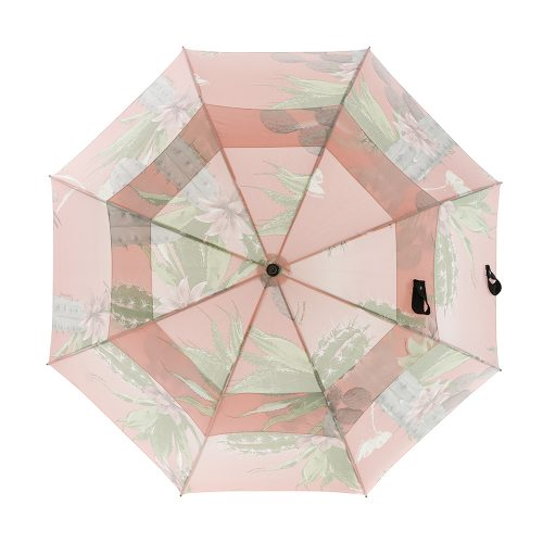 The Kakteen rain umbrella open from the top. The soft green and pink cactus print is large scale across the large canopy.