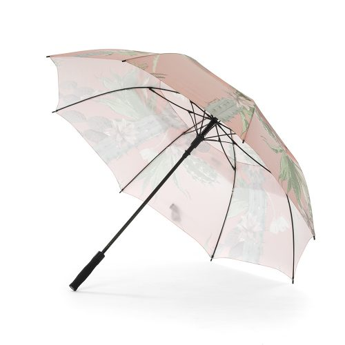 Kakteen print rain umbrella shown open from the side, with the black handle and hardware visible.