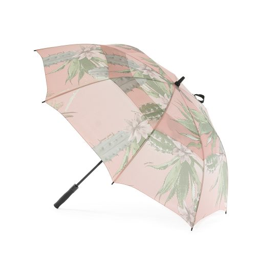 Kakteen print large rain golf umbrella shown open from the side. The print is soft green cactus and flowers on a pink background.