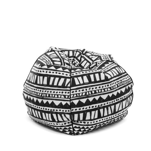 Tear drop shaped bean bag in bold geometric hand drawn designer bermuda fabric.