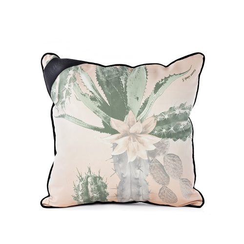 Kakteen hand drawn designer print indoor outdoor cushion on a white background. The kakteen print features large scale soft green cactus with pink flowers on a pale pink background.