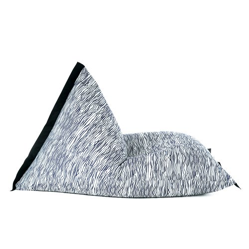 Side view of lifestyle tetrahedral shaped bean bag in blue wave marine material with black contrast trim
