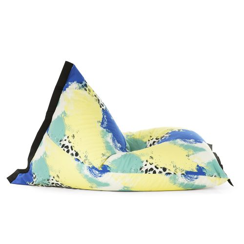 Side view of the lifestyle tetrahedral shaped bean bag in blue, yellow, green and white Tier material with black contrast trim
