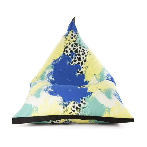 Front view of the lifestyle tetrahedral shaped bean bag in blue, yellow, green and white Tier material with black contrast trim