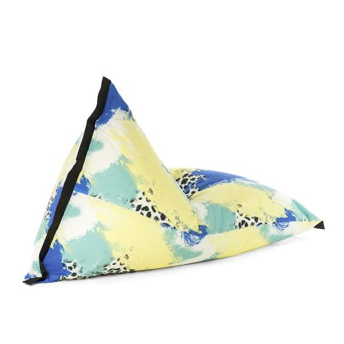 Oblique view of the lifestyle tetrahedral shaped bean bag in blue, yellow, green and white Tier material with black contrast trim