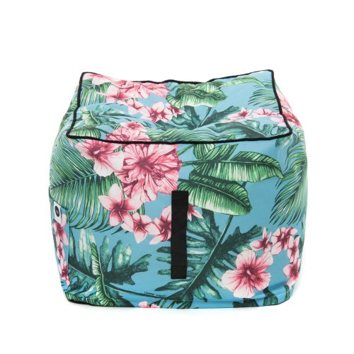 Pink tropical print on blue background Belvedere ottoman showing the black carry handle and contrast trim