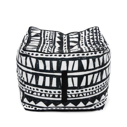 Black and white geometric print Bermuda ottoman showing carry handle.