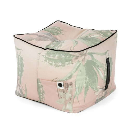 Kateen ottoman showing storage pocket and carry handle. Black trim contrasts with pink and green cactus Kakteen fabric.