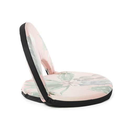 Side view of the pink and green kakteen print cushion recliner portable low beach chair