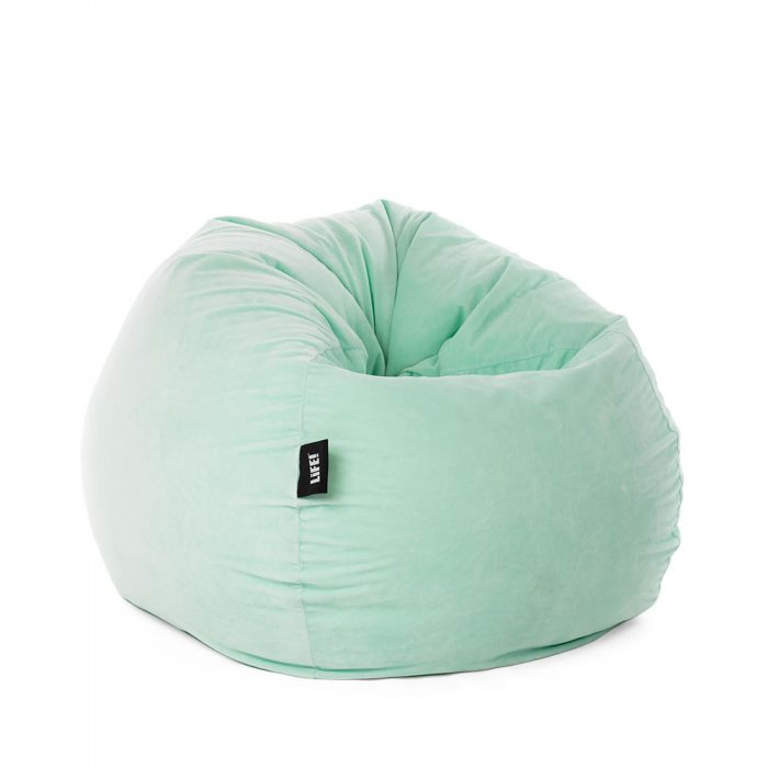 Soft and squishy mint green adult sized teardrop velour bean bag