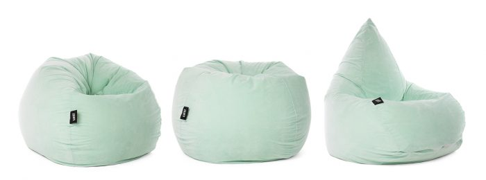 Soft and squishy pale mint green velour tear drop shaped adult bean bag