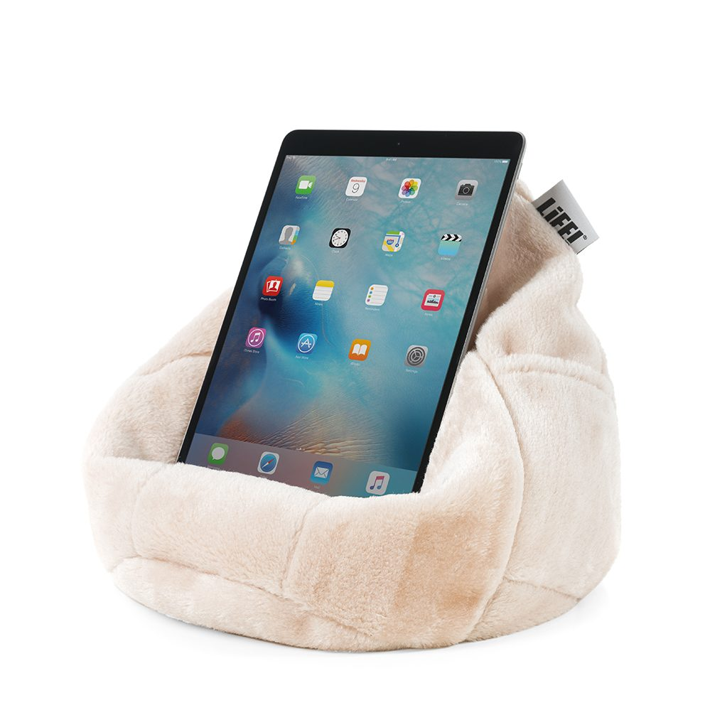 Table or iPad shown nestled in the pale pink blush faux fur iCrib bean caddy.