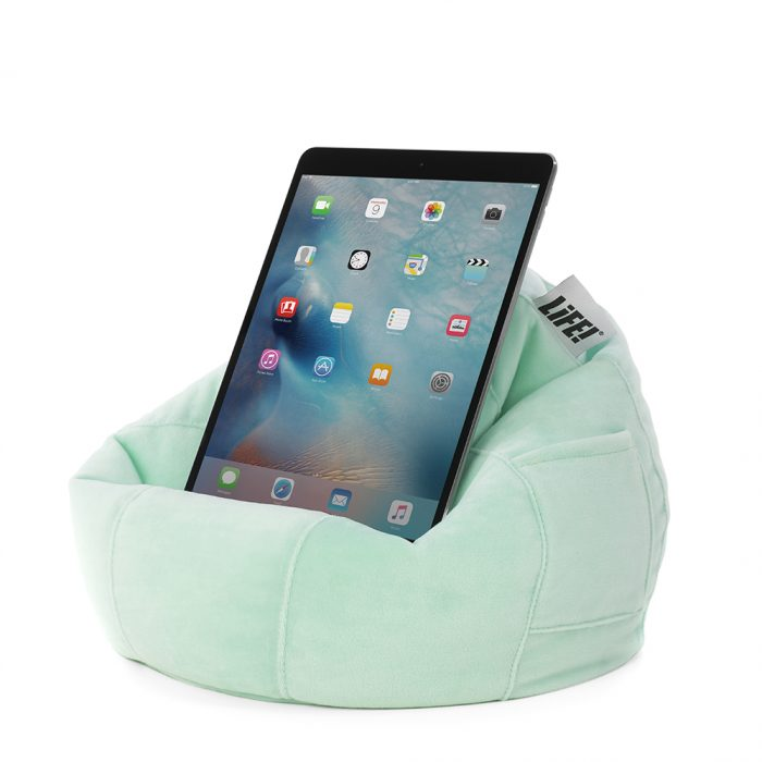 Mint green velour or velvet iCrib with storage pocket showing LiFE! brand tag. The bean caddy cushions a tablet, mobile device, iPhone or iPad.