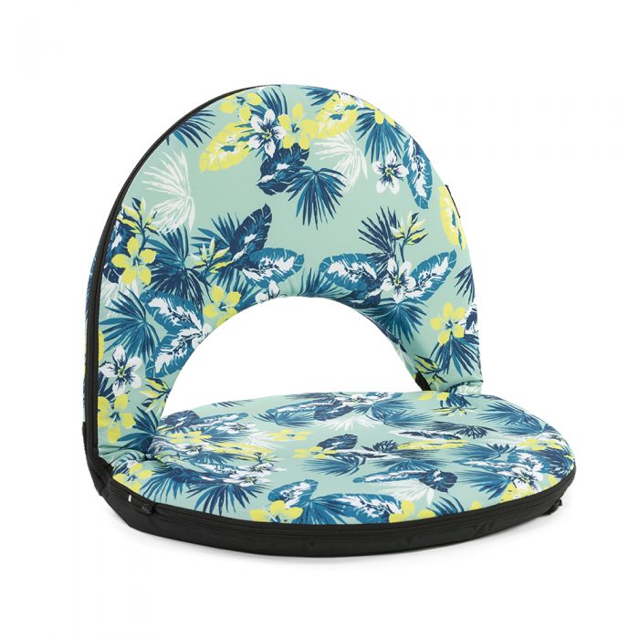 The cushion recliner travel chair in a blue and green tropical leaf print.